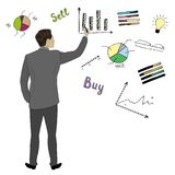 Businessman in suit  back view hand touch doodle finance charts. And graphs, concept vector illustration Royalty Free Stock Photos