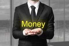 Businessman suit begging gesture money Royalty Free Stock Images