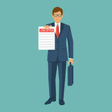 Businessman in suit with briefcase, hold Offer job. Recruitment concept. Search for employee, colleagues. Ad on paper. Vector illustration flat design.  on Royalty Free Stock Photography