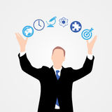 Businessman in suit. Business concept with icons. Vector Royalty Free Stock Image