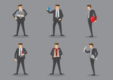 Businessman in Suit Carrying Props. Vector cartoon icons of businessman carrying different props  on grey background Royalty Free Stock Photos