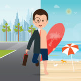 Businessman in suit on city view and on the beach Stock Photo