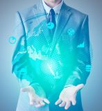 Businessman in suit with dotted world globe and icons in blue co. Lor. Illustration Stock Photos