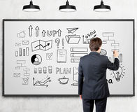 Businessman in suit is drawing a startup idea sketch on a whiteb Stock Images