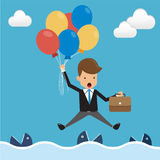 Businessman in Suit Floating with Balloons Over the Sea and Fish in the Water. Concept Business Vector Illustration Flat Style. This is graphics vector Royalty Free Stock Photos