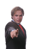 Businessman in a suit gestures. With his finger stock photography