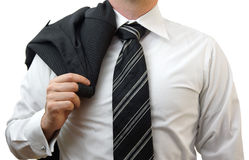 Businessman with suit on his shoulder Stock Photos