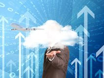 Businessman in a suit hold cloud Stock Image