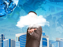 Businessman in a suit hold cloud Royalty Free Stock Image