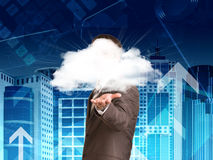 Businessman in a suit hold cloud Stock Photos