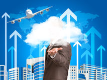 Businessman in a suit hold cloud Stock Photo