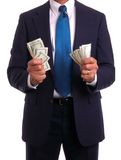 Businessman in suit holding mo Stock Photo