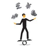 Businessman in a suit juggles coins Stock Images