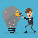 Businessman in Suit Knock a Light Bulb. Business and Finance Concept, Vector Illustration Flat Style. Stock Images