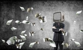 Businessman with old TV instead of head. royalty free stock photo