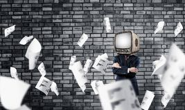 Businessman with old TV instead of head. Royalty Free Stock Photography