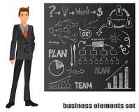 Businessman in a suit. Orange tie. Brown chalkboard with hand drawn elements. VECTOR illustration Royalty Free Stock Image