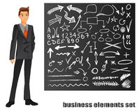 Businessman in a suit. Orange tie. Chalkboard with hand drawn business sketches. VECTOR eps 8 illustration Royalty Free Stock Photos