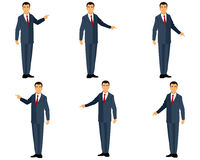 Businessman in suit points Stock Photos