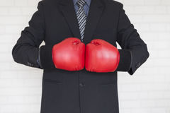 Businessman in suit with red boxing gloves Royalty Free Stock Photo
