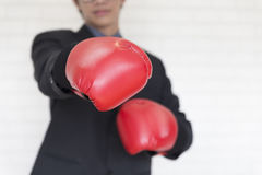 Businessman in suit with red boxing gloves punch to you Royalty Free Stock Photo