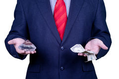 Businessman in suit red tie with money and diamond Stock Image