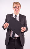 The businessman in the suit rejoice in the successes of and hold Stock Image