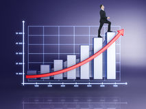 Businessman in suit rising up. On chart Royalty Free Stock Photography