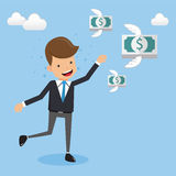 Businessman in Suit Running Follow Money Flying. Concept business vector illustration Flat Style. This is graphics vector Illustration character design concept Stock Photography