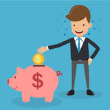 Businessman in Suit and Savings Piggy Bank. Concept Business Vector Illustration Flat Style. Royalty Free Stock Photography