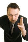 Businessman in suit shows his hand Stock Image