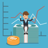 Businessman in Suit Sit On Money and Graphs Background. Concept Business Vector Illustration Flat Style. This is graphics vector Illustration character design Royalty Free Stock Photography
