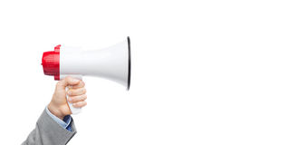 Businessman in suit speaking to megaphone Royalty Free Stock Photos