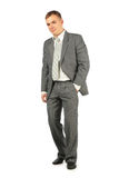 Businessman in suit stand on a white Royalty Free Stock Photos