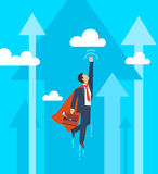 Businessman in a suit superhero flies up. Leadership and business growth concept.  Flat design. Vector illustration Royalty Free Stock Photos