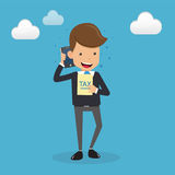Businessman in Suit Talking on the Mobile Phone and Tax in Hand. Concept Business Vector Illustration Flat Style. Stock Photo