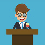 Businessman in Suit Talking on Podium and Said Into the Microphone. Business and Finance Concept, Vector Illustration Flat Style. Stock Photo