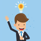 Businessman in Suit Thinking Money. Light Bulb Concept Business Vector Illustration Flat Style. This is graphics vector Illustration character design concept Royalty Free Stock Images