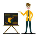 Businessman in suit and tie making presentation explaining charts on a board.Vector Stock Photos