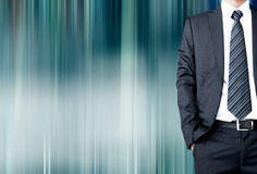 Businessman with suit & tie on motion blur abstract background Stock Photo