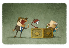 Businessman in suit treating boss. Illustration of shouting employee at his old scared boss Royalty Free Stock Images