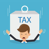 Businessman in Suit Under Heavy Tax Payments Burden. Concept Business   Stock Photography