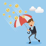 Businessman in Suit Wear and Rain Coin. Concept business vector Illustration Flat Style. Stock Photo