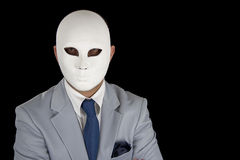 Businessman in suit wearing mask, business power Royalty Free Stock Photo