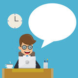 Businessman in Suit Working with Computer on Table in The Office and Speech Bubble. Concept Business Vector Illustration Royalty Free Stock Photo