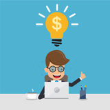 Businessman in Suit Working with Computer on Table in The Office and Thinking Idea Money. Concept Business Vector Illustration Fla Royalty Free Stock Image