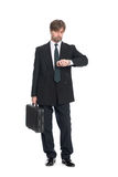 Businessman with suitcase Royalty Free Stock Images
