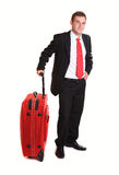 Businessman with suitcase Royalty Free Stock Photography