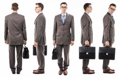 Businessman with suitcase from all sides Stock Photography