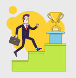 Businessman with suitcase climbing the stairs of success Royalty Free Stock Photos